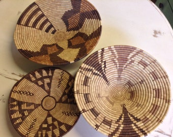 Set of three Native American Apache Indian baskets
