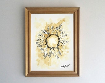 Sketch coffee stain branch leaf crown original illustration print. Artwork, illustration, home decor, poster, gift