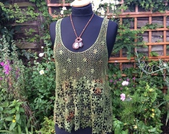 Woodland,Lace/ Hippy/Pixie,Festival/Crochet/Tie Dye/Fairy/Hand dyed //green/rust/, Lace vest Crochet ,top