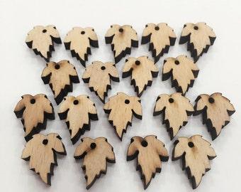 18pcs 14x17mm Wooden Leaves