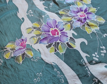 Green 80's Floral Print Silk Scarf