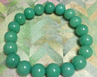 Green Jade Bracelet- Beaded Gemstone Stretch Bracelet Mens or Womens Bracelet Stone Jewelry Natural Beads Mala Green