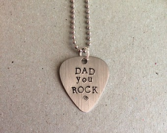 Hand Stamped Guitar Pick Necklace, Personalized Guitar Pick, Personalized Necklace, Gifts for Him