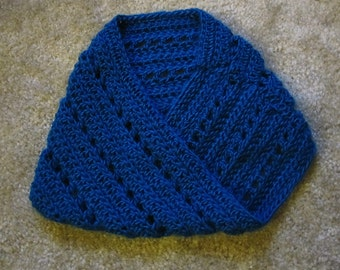 Lacy Blue Hand-Crocheted Cowl