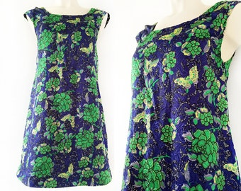 Blue and green vintage flower and butterfly dress with tiny sleeves, size EU 36 / UK 8 / US 6
