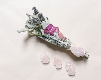 Rose Quartz Arrowhead w/ White Sage Sacred Smudge Stick - The Love Stone
