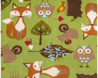 SALE Shannon Plush Fabric, Woodland, Forest Tails Kiwi, Cuddle Plush, Fox, Owl, UK sales only