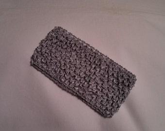 Silver Crochet Headband, Silver Headband, 2.75 Inch silver crochet headband, oatmeal 2.75 inch headband, silver headband