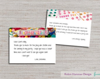 Candy Birthday Party Thank You Card, Sweets Themed Party Thank you, DIY, Digital File