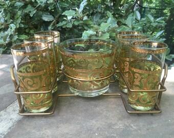Culver Toledo Glass and Bar Set