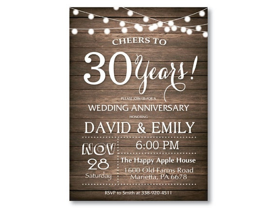 10th Wedding Anniversary Invitations: 30th Wedding Anniversary Invitation. Rusic Wood. String