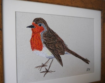 Embroidered Robin Picture