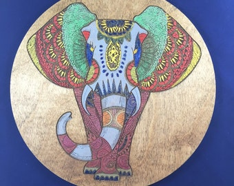 Elephant Wall Decor; Hand Painted