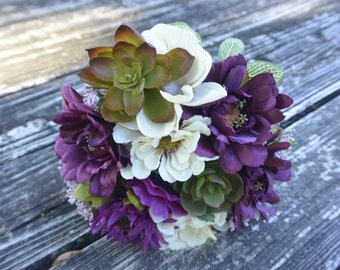 Burgandy Wine  Succulent Bridal Bouquet