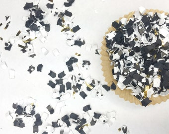 Party Confetti | Tuxedo Confetti | Party Decor | Black White Gold Confetti