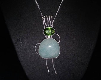 Amazonite and Peridot Funny Girl Pendant Necklace