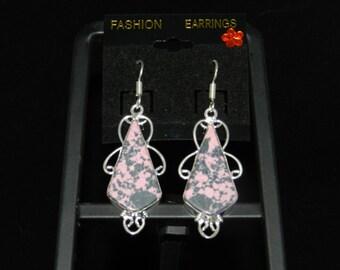 Pink and Grey Jasper Charm Earrings