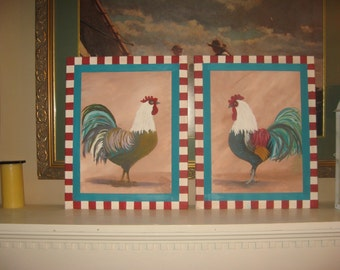 Roosters 2 Rooster Paintings - Hand-painted rooster - rooster decor