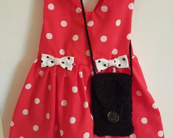 Baby Girl Dresses, Retro polka dot dress, Sundress, toddler dress, girl clothes, dress with purse, dress with barrettes