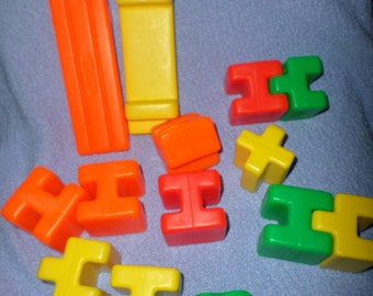 Vintage Playskool Blocks interlocking orange yellow green