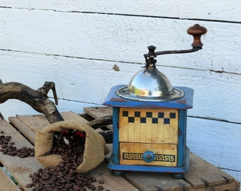 Coffee Mill. Coffee Grinder. Peugeot Freres. Blue Checkered.