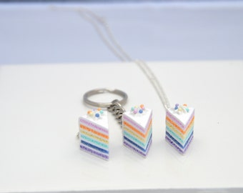 Pastel rainbow cake, cake planner charm, cake keychain