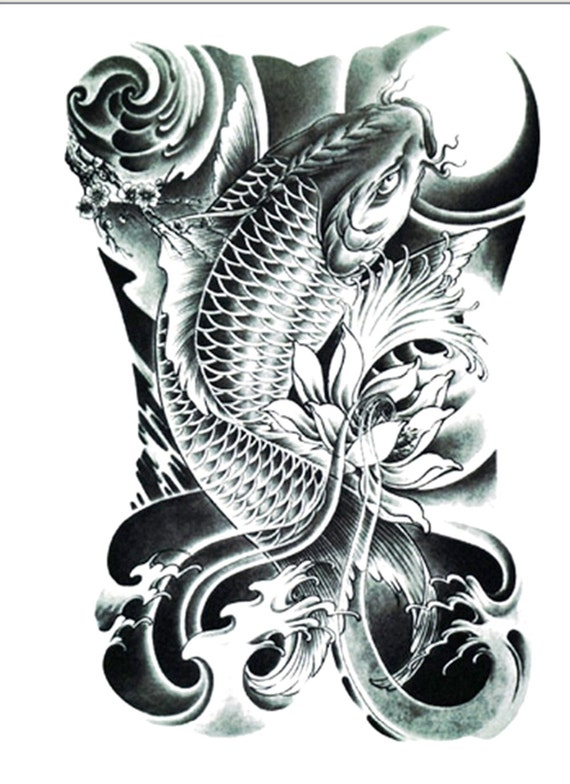 koi tattoo temporary tattoo flash tattoo fake tattoo