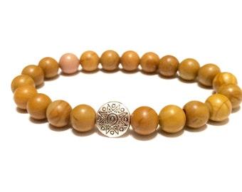 Happiness, Clarity, Self-Confidence, Woodgrain Yellow Jasper Bracelet, Mala Bracelet, Tibetan charm bracelet, Yoga jewelry