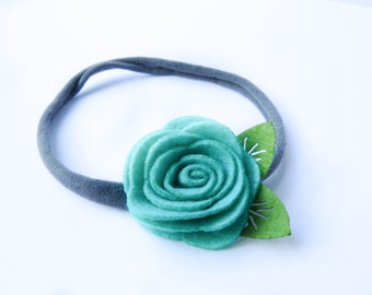 Teal Felt Flower Nylon Headband, Felt Flower, Nylon Headband