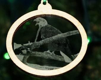 Bald Eagle ornament, Eagle decorations, bird ornament, Christmas decoration, Etched ornament, Holiday decor, Stocking Stuffer, Wedding Gift