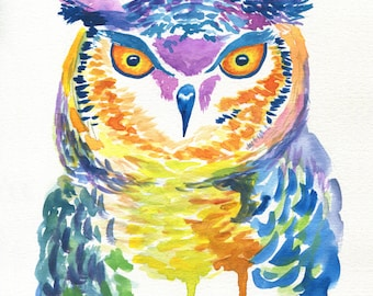 Owl Watercolor / Abstract Owl / Owl Painting / Watercolor Wall Art / Nature Print