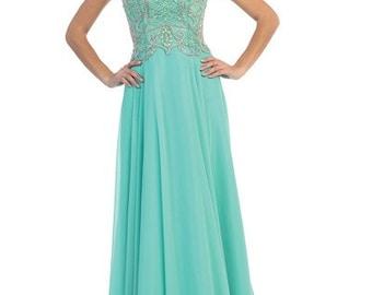 Jade Open back Prom Dress