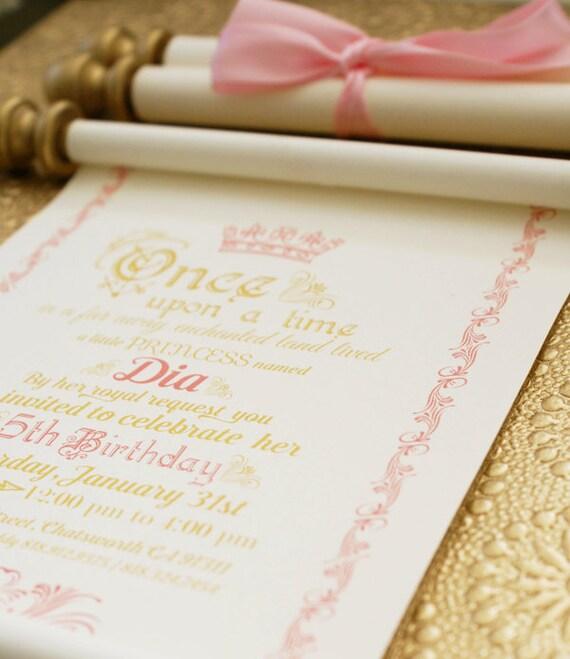 Elegant Princess Scroll Birthday Invitation in Gold and Pink – Princess Scroll Birthday Invitations