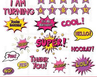 Pink Superhero Text Clipart, Birthday Clip Art, Digital Words,Digital Comic Text, Girl Superhero Clip Art,Comic Book Clip Art, Comic Clipart