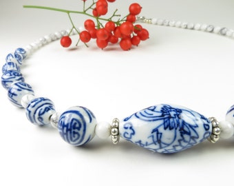 Blue and White Handpainted Ceramic Bead Necklace