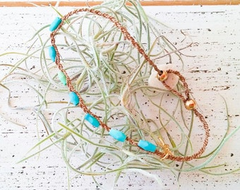 Turquoise with natural silk string Bracelet