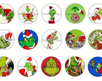 """How The Grinch Stole Christmas  - Grinch - 15 Bottle Cap Images 4X6 Digital INSTANT DOWNLOAD 1"""" Circle Jewelry Dr. Seuss"""