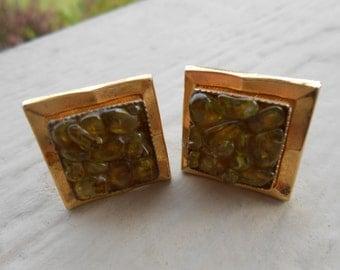 Vintage Green Glass Gold Toned Cufflinks. Gift For Groomsmen, Groom, Dad, Husband.