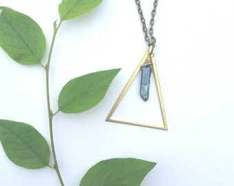 Triangle necklace, crystal necklace, boho jewelry