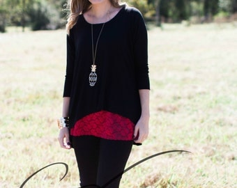 Shirt Extender Red Lace Plus Sizes