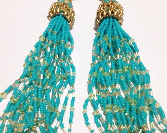 Tassel Aqua Blue Earrings