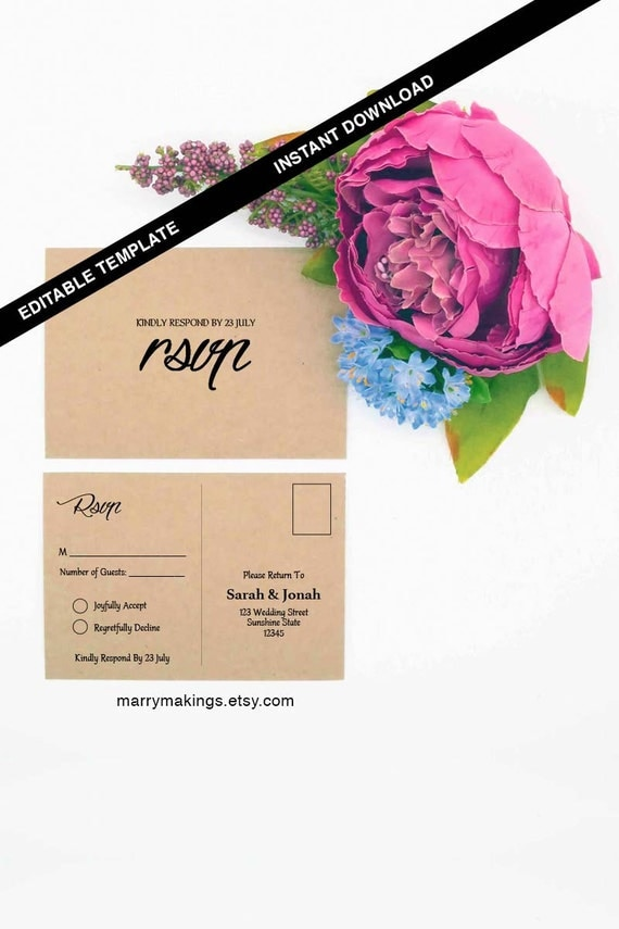 wedding rsvp postcard template printable wedding editable. Black Bedroom Furniture Sets. Home Design Ideas