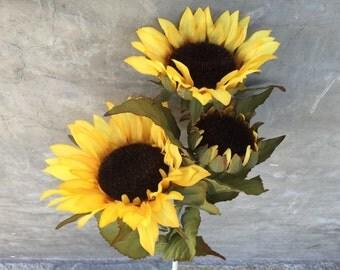 "Large Sunflower Bush, Faux, Artificial, Silk Wedding Flowers - 32"" Tall"