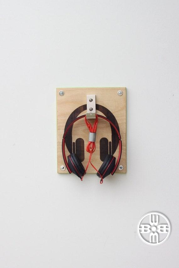 Items similar to headphone rack headphone holder dorm decor wall mounted headphone holder - Wall mount headphone holder ...