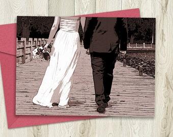Printable Wedding Card, Bride and Groom Congratulations, 5x7, Instant Download Card