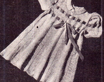 Genuine Vintage Antique Girls 'Party Frock' Dress with Double-Ribbon Decoration Knitting Pattern PDF