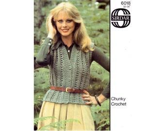 Genuine Vintage 1980s Sirdar 6018 Ladies Sumptuous Chunky Ribbed Waistcoat Crochet Pattern
