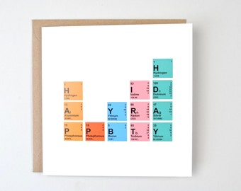 Geek birthday card, Periodic table card, Nerdy birthday card, scientist birthday card