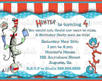 Cat in the Hat Party Invitation, Thing one and Thing two birthday invite