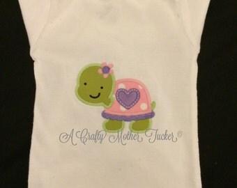 Girl turtle applique shirt